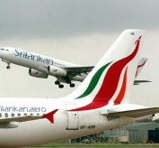 A Sri Lankan airlines Airbus takes off f