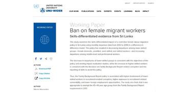 Dr. Bilesha Weeraratne's paper for UNU-WIDER now online