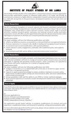 Vacancies for Senior & Junior Researchers