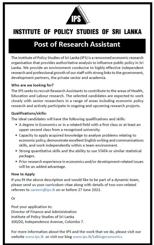 vacancies research assistant